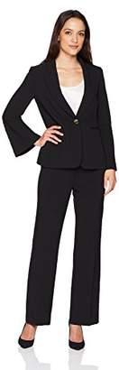 Tahari by Arthur S. Levine Women's Petite Pebble Crepe Flare Sleeve Pant Suit