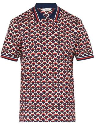 Valentino Scale Print Cotton Pique Polo Shirt - Mens - Navy Multi