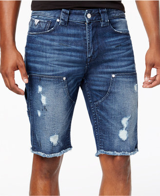 "Guess Men's Slim-Fit Raw Edge Ripped 11"" Stretch Denim Shorts $98 thestylecure.com"