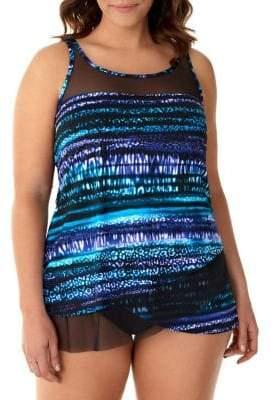 Miraclesuit Plus Cat Bayou Mirage Tankini Swim Top