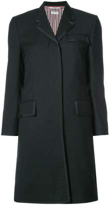 Thom Browne Classic Chesterfield Overcoat With Grosgrian Tipping In Black Crepe Suiting