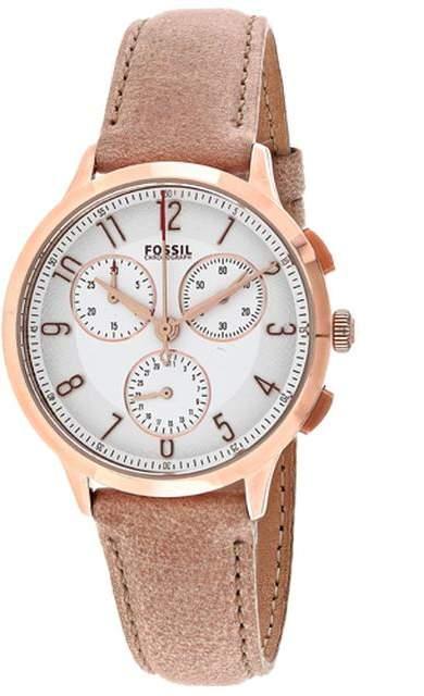 FossilFossil Abilene CH3016 Women's Round Light Brown Leather Watch