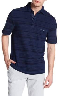 Thomas Dean Stripe Short Sleeve Polo