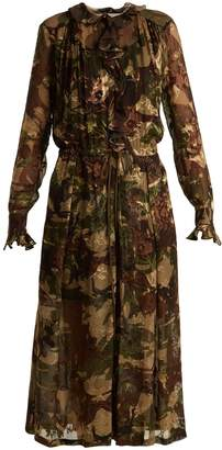 Preen by Thornton Bregazzi Lucinda camouflage-print hammered silk dress