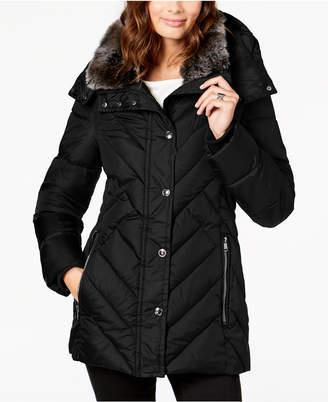 London Fog Petite Faux-Fur-Collar Puffer Coat