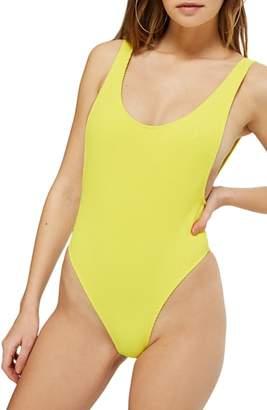 Topshop Scoop Neck Crinkle One-Piece Swimsuit