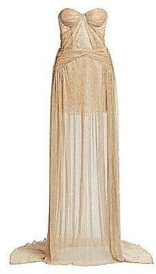 Gustavo Cadile Women's Crinkled Strapless Metallic Gown