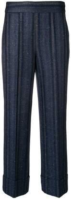 Incotex high waist striped trousers