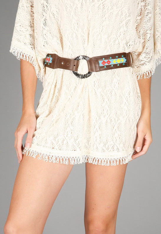 Streets Ahead Beaded Belt with Silver Rings in Multi