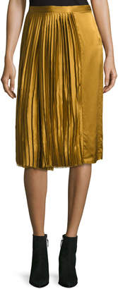 Public School Gamil Pleated Sateen Silk Midi Skirt, Brown