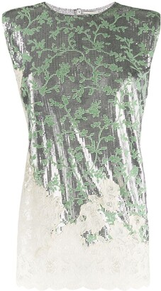 Paco Rabanne floral lace insert metallic top