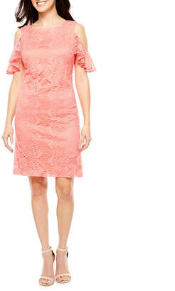 Studio 1 Short Sleeve Cold Shoulder Lace Sheath Dress