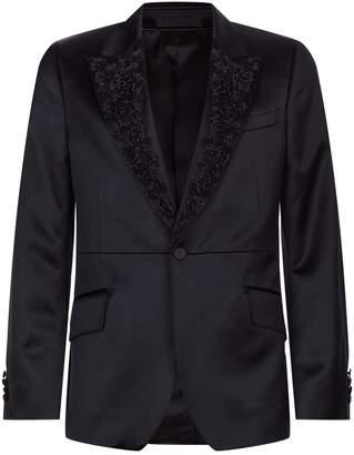 Alexander McQueen Embellished Lapel Satin Jacket