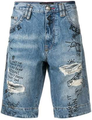 Philipp Plein distressed denim shorts