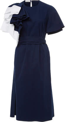 DELPOZO Cotton Bicolor Dress with Belt