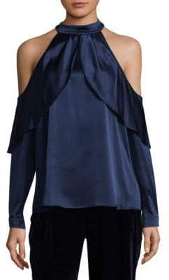 Parker Sonelle Ruffle Off-The-Shoulder Silk Blouse