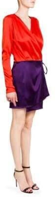 ATTICO Two-Tone Satin Mini Dress