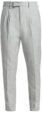 Ermenegildo Zegna Men's Pleated Cotton& Linen Pants - Grey - Size 52 (36)
