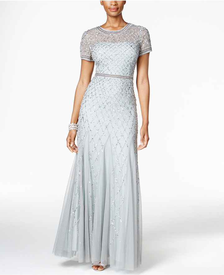 Adrianna Papell Adrianna Papell Sequined Beaded Gown
