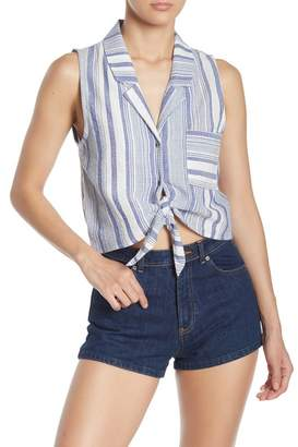 176f1a51 FAVLUX Tie Front Button Down Cropped Top