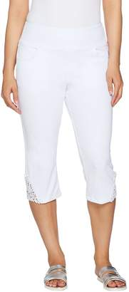 Denim & Co. Knit Denim Pull-On Capri Pants with Crochet Detail