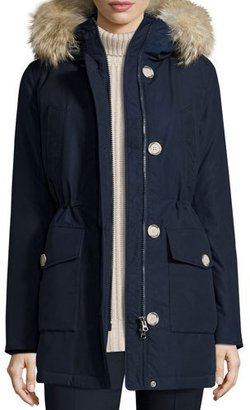 Woolrich Long Hooded Arctic Parka Coat w/ Coyote Fur, Melton Blue $765 thestylecure.com