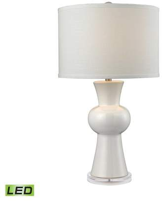 Dimond Lighting White Ceramic LED Table Lamp With Textured White Linen Hardback Shade