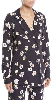 Lela Rose Double-Breasted Floral-Print Blouse
