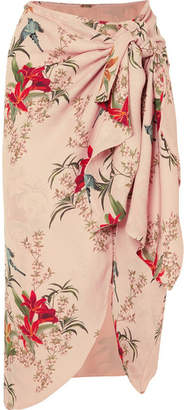 Johanna Ortiz Libertad Lamarque Knotted Printed Silk-georgette Wrap Skirt - Pastel pink