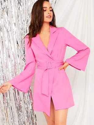 Shein Notched Collar Buckle Belted Bell Sleeve Blazer Dress