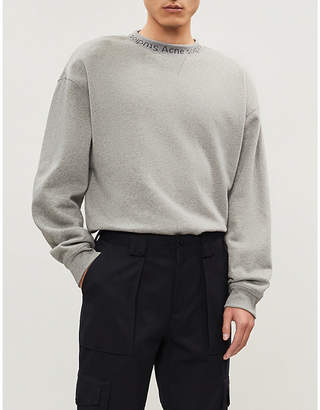 Acne Studios Logo-trim cotton-jersey sweatshirt