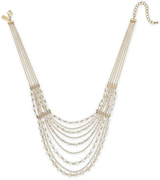"INC International Concepts I.n.c. Gold-Tone Crystal & Bead Multi-Row Statement Necklace, 18"" + 3"" extender"