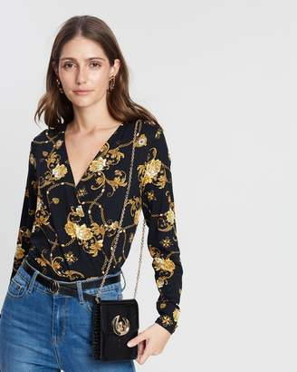 Dorothy Perkins Chain Print Wrap Front Top
