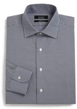 Saks Fifth Avenue BLACK Mini-Gingham Button-Down Shirt/Slim-Fit