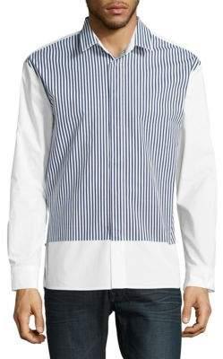 Plac Stripe-Accented Cotton Button-Down Shirt