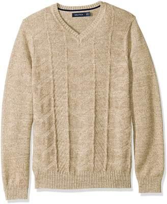 Nautica Men's Multi- Stitched V-Neck Sweater with Tricolor Budding