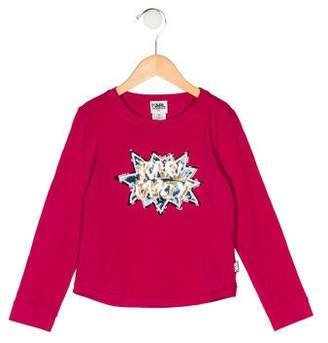 Karl Lagerfeld Girls' Sequin Long Sleeve Top