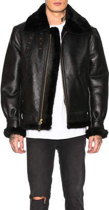 Schott B-3 Sheepskin Leather Bomber Jacket in Ebony | FWRD