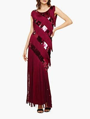 Phase Eight Annabeth Fringe Sequin Maxi Dress, Berry