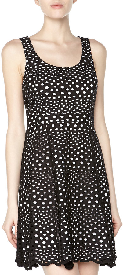 Ali Ro Sleeveless Eyelet Fit-And-Flare Dress, Black/White