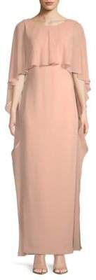 Calvin Klein Ruffle Cape Gown