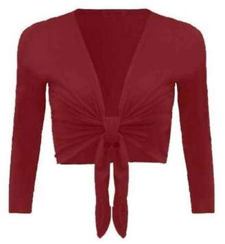 Forever Womens Plain Long Full Sleeves Front Tie Knot Shrug Stretchy Cardigan Top