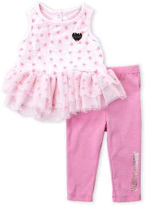 Juicy Couture Newborn Girls) Two-Piece Flocked Heart Tutu Tunic & Leggings Set