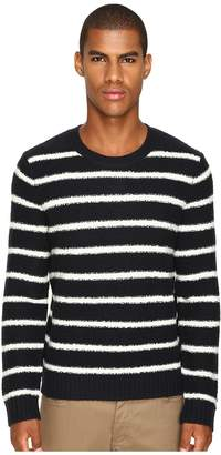 Vince Textured Striped Merino Blend Long Sleeve Crew Neck Sweater Men's Sweater