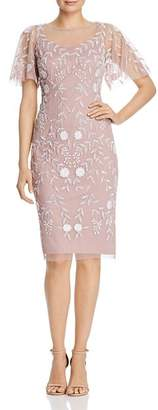 Adrianna Papell Beaded Flutter-Sleeve Sheath Dress