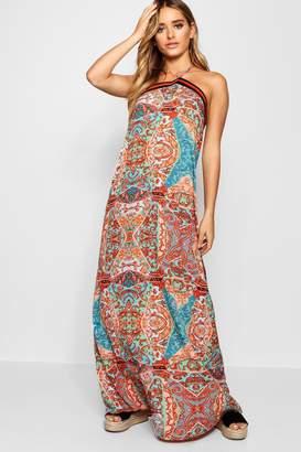 boohoo Multi Print Stripe Trim Maxi Dress