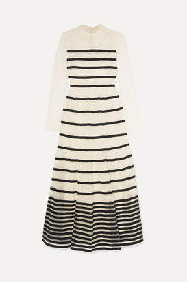 RED Valentino Grosgrain-trimmed Point D'esprit Tulle Midi Dress - Ivory