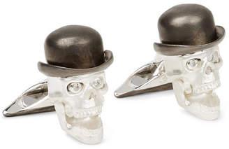 Deakin & Francis Skull Sterling Silver Diamond Cufflinks