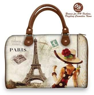 OH FASHION OH Fashion Women Tote Lady in Paris PU Leather, Travel, Beach, Big Handbag with zipper, makeup organizer Retro Paris Lady Style