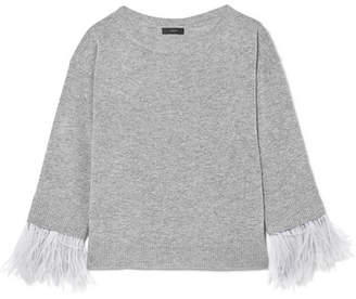 J.Crew Feather-trimmed Wool-blend Sweater - Gray